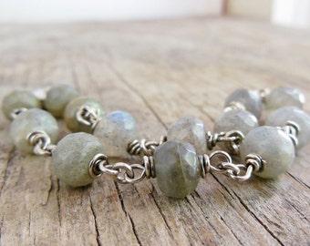 Labradorite Bracelet, Sterling Silver, Wire Wrapped Beaded Jewelry, Blue Grey Gemstone Chain Bracelet
