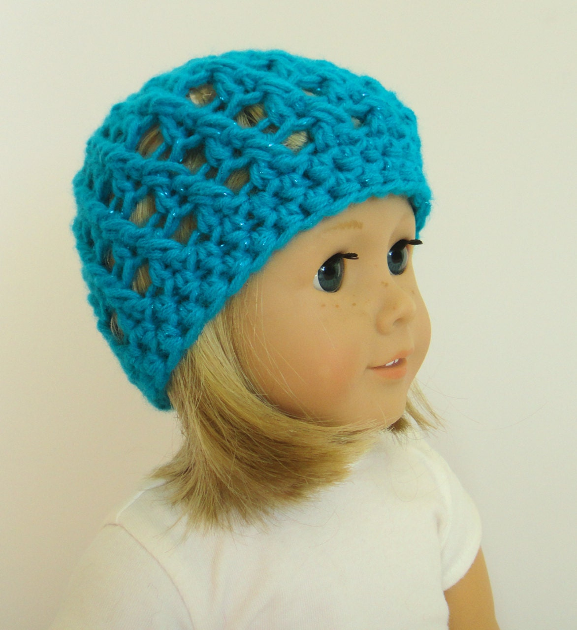 Knitting Pattern For Dolls Beanie : Knit Doll Hat 18 Inch Doll Accessories Blue Doll Beanie