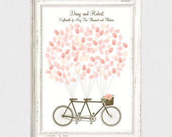 tandem bicycle fingerprint guest book - printable file - thumbprint tree alternative bike cycling wedding engagement guest book digital pdf