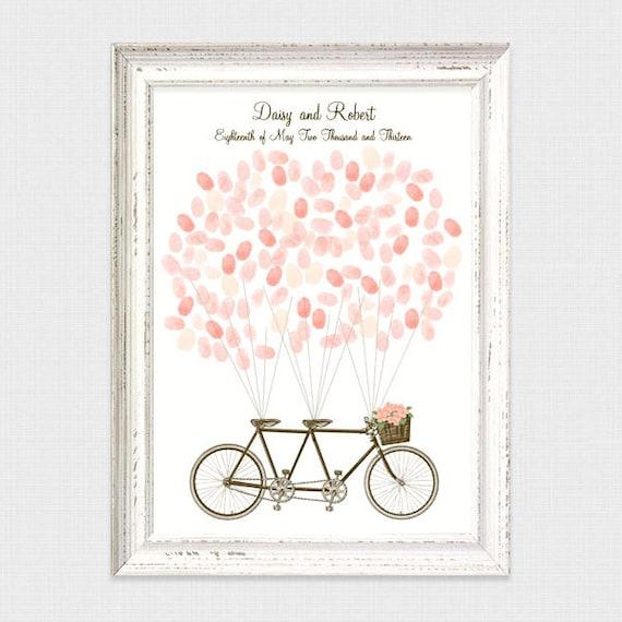 Guest Book Printing: Tandem Bicycle Fingerprint Guest Book Printable File