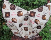 Handmade apron, chocolate apron, ruffle, pocket, chocolate truffles, candy