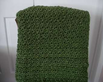 Olive Green Afghan Throw Blanket