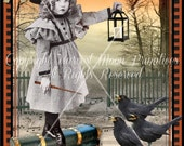 VINTAGE STYLE Halloween Postcards -- Moonlight Sonata