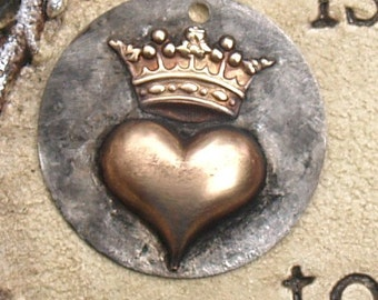 "1"" Soldered Crown Heart Pendant Charm Bohemian Raw Brass Metalwork Mixed Metals Altererd Art Supply Jewelry Scrapbook Raw Brass Crown"