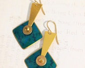 Totally 80's GEOMETRIC Dangly EARRINGS // Moving Triangle, Circle, Rectangle Earrings// Teal and Gold