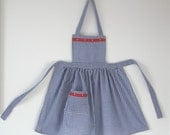 Reserved listing for Kristen Broadway.   Dorothy style blue and white gingham apron with bib for a 7 to 8 year old