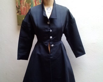 Black Beauty////vtg50's Stunning Dupioni Evening Wasp Waist Bombshell Pin Up New Look Cocktail Jacket Princess Coat///sz 4-6