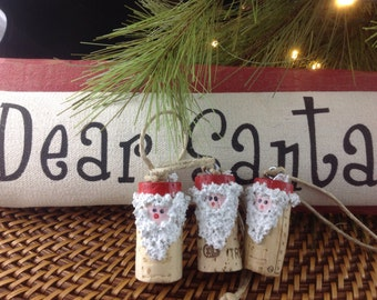 Set of Three Cork Santas