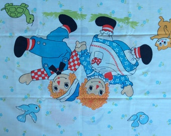 Outdoor fun Raggedy Ann and Andy Pillowcase  - Reclaimed Bed Linens