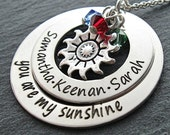 """Birthstone Jewelry - Mother Necklace - Mother Jewelry - Birthstone Necklace - JOCELYN """"you are my sunshine"""" Mother Necklace"""