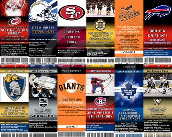 ANY TEAM You can Print Custom Ticket birthday sports jack and jill save the date bachelor party invitation etc DIGITAL can order as well