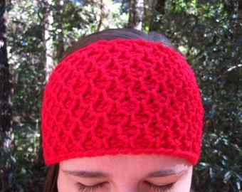 Tunisian Crochet Headband (Knit Look) Ear Warmer Winter Wear Earwarmer Red