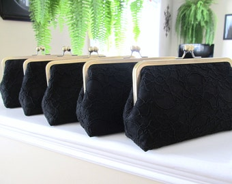 SALE, 20% OFF, Bridal Silk And Lace Clutch Set Of 5 Black,Bridal Accessories,Wedding Clutch,Bridesmaid Clutches