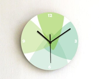 Green Turquoise Pastel geometric Modern kitchen unique handmade graphic design wall clock