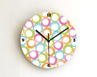 Colorful Pastel Circles Geometric Modern kids bedroom unique handmade graphic design wall clock