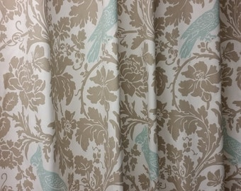 """Pair of designer drapes, two 50"""" wide curtain panels, barber bird powder blue, taupe, white"""