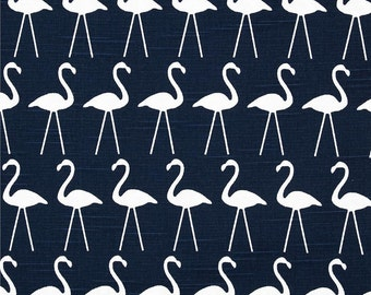 Pair (two 50W panels) designer custom made curtain panels drapes flamingo primary navy blue and white