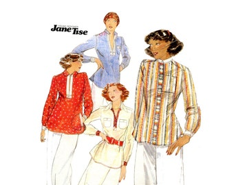 1970s Jane Tise Blouse Pattern Pullover Tunic Kurta Tops Pointed or Nehru Collar Butterick 4684 Bust 34 Vintage Sewing Pattern