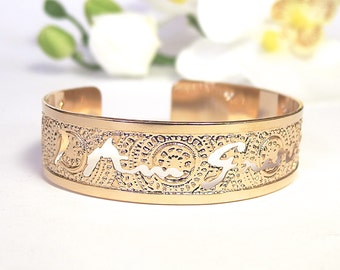 "Rose Gold cuff ""I am Gratitude"" bracelet, Affirmation, Rose gold bracelet, rose gold bangle, dainty rose gold bracelet, rose gold jewelry"