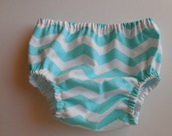 Baby infant bloomers diaper cover aqua blue and white chevron