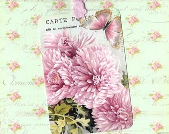 Tags, Floral Gift Tags, Pink Mums, Birthday Tags