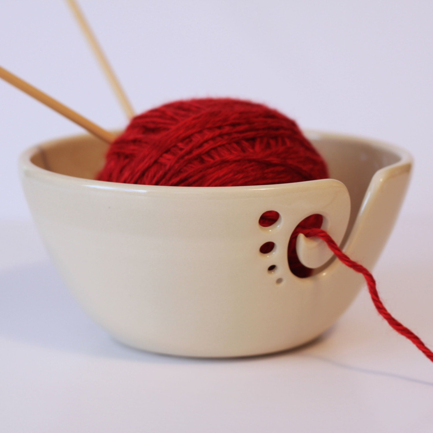 Crochet Yarn Bowl : White Ceramic Yarn Bowl Knitting Bowl Crochet by andersenpottery