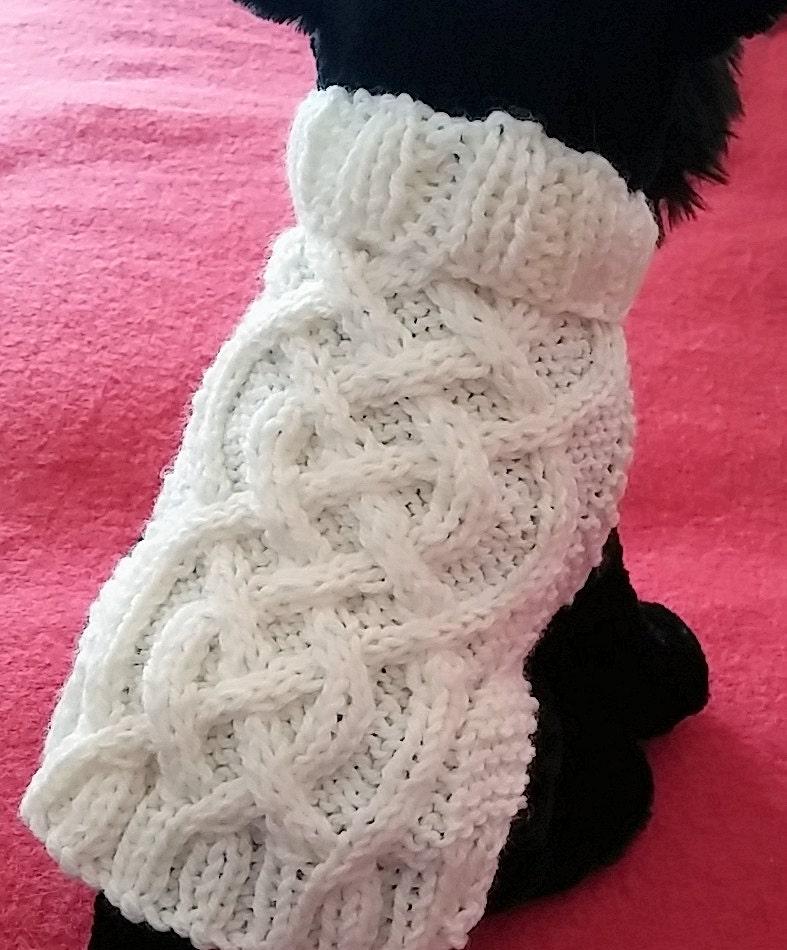 Knit Dog Sweater knitting pattern Celtic Braid design Downloadable PDF from K...