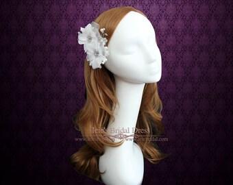 Bridal Flower Clip, Flower Wedding Hair Clip, Ivory Twin Flower Hair Clip VG1034