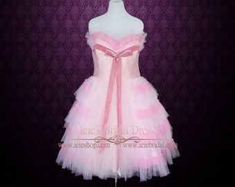 Retro Pink Tulle Tea Length Prom Dress  Formal Dress | Emmy