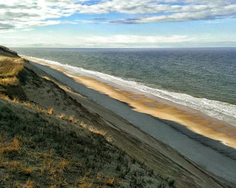 Ocean Beach - Fine Art Canvas Print, Dunes, Cape Cod, Seashore, Beach, Seascape, Photograph, Wall Art