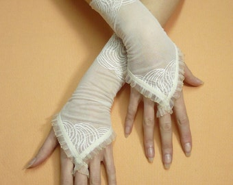 Finger loop Lace Gloves, Ivory Wedding Armwarmers with Organza Trim, Hand Covers, Bridal Retro Mittens, Regency Fingerless,Victorian Stulpen