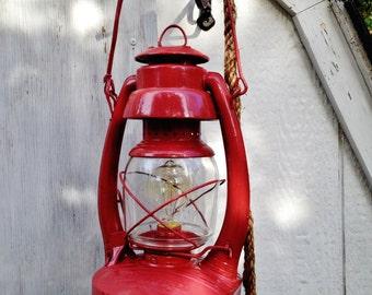 Pair Antique Lantern Rope Pendants FREE SHIPPING