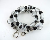 Bracelet, Jewelry, Glass Bead Memory Wire, Black and White Beads, Silver toned Beads