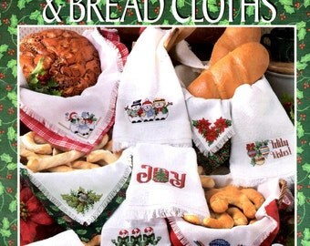 Christmas Towels and Bread Cloths Holly Leaves Berries Candy Canes Counted Cross Stitch Embroidery Craft Pattern Leaflet Leisure Arts 2944