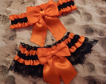 Orange Black Satin Black Lace Wedding Bridal Garter Toss Set