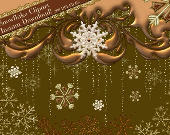Snowflake Clipart, Gold Snowflake Clipart, Winter Clipart