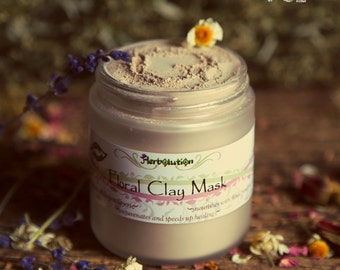 Organic Facial Mask - softening, nourishing pores, blackheads detox - Vegan Natural - Floral Clay