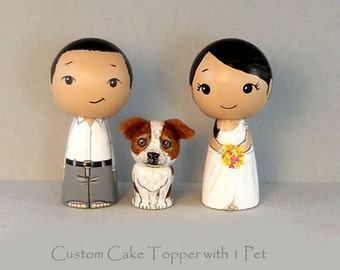 Custom Cake Toppers One Pet  Bride Groom Pet Kokeshi doll cake toppers