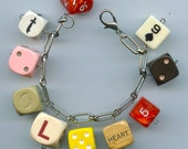 Game Dice Novelty Fun Charm Bracelet from Recycled Items Some Vintage