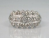 Vintage Diamond Wedding Ring - Cocktail Ring - 1.05 Carats Diamonds - 17 Diamonds - Appraisal Included