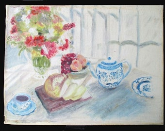 STILL LIFE Oil Painting - Teapot / Bread / Fruit And Flowers - Vintage 1987