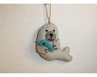 Seal Ornament/Made of Felt/ Handmade/MADE to Order**