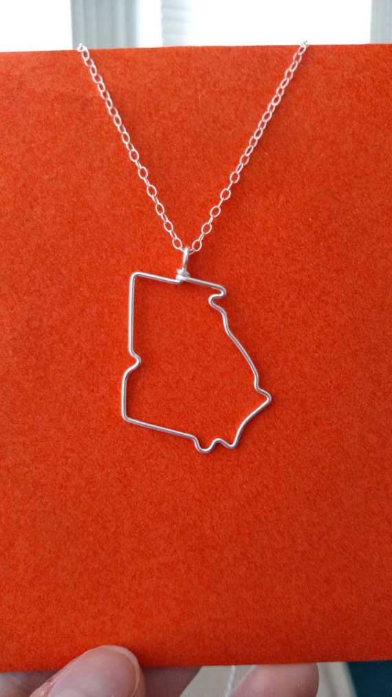 Georgia State Necklace - Georgia State Outline Necklace - Georgia Necklace