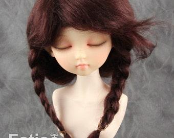 Fatiao - New Dollfie MSD Kaye Wiggs 1/4 BJD Size 7-8 inch - Dark Brown Dolls Mohair Wig