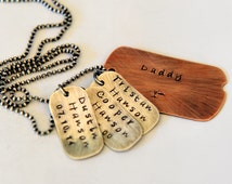 Dog Tag Necklace - Fathers Day - Gift For Dad - Rustic Dad Gift - Personalized Dad Gift - Dog Tag Jewelry - Hand Stamped Dog Tag