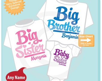 Set of Three, Big Brother, Big Sister and One Baby Sister Tees or Onesies (11062014h)