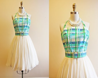 60s Dress - Vintage 1960s Dress - Aqua Plaid Silk Chiffon Halter Party Prom Dress XS - On a Lark