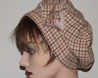 Sale Item, Ladies Pink Wool Plaid Tam