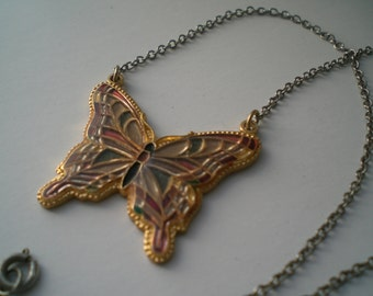 Goldtone Butterfly Necklace with Enamel Choker Length