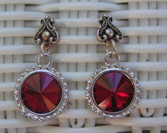 Red Rivoli Earrings in Silver Beaded Frames